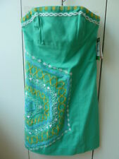 New with tags $268: Lilly Pulitzer Fully Lined Bowen Dress Embroidered Aqua (00)