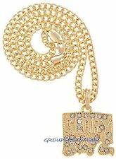 Glory Boyz Necklace New Iced Out Pendant 24 Inch Cuban Link Style Chain