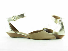 New Womens Tesori Tan and Gold Pointed Toe Demi Wedge
