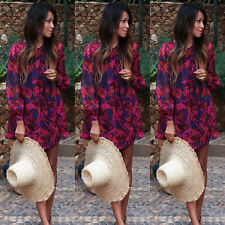 HOT Fashion Womens Crew Neck Long Sleeve A-Line Loose Casual Floral Mini Dresses