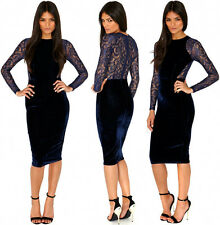 Elegant Womens Floral Lace Splicing Velvet Bodycon Pencil Party Prom Midi Dress