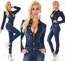 Women's Long Sleeve Stretch Denim Jeans Jumpsuit Overall - XS / S / M / L / XL