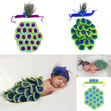 Crochet Peacock Baby Headband and Cape Newborn Peacock Cover Photo Prop Costume