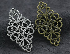 5/20/100pcs Tibetan Silver Beautiful Hollow flower Charms Connectors DIY 41x25mm
