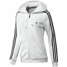 Ladies Women's Girls New Adidas Hooded Sweater Hoodie Jumper Pullover - White