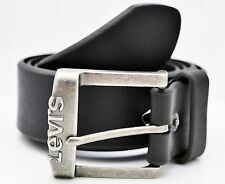 LEVI'S LEVI STRAUSS MEN'S GENUINE BUFFALO LEATHER JEANS BELT - BLACK 11LV02SX