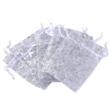 Wholesale lot 7x9 White Flowers Organza Gift Pouch Bags Wedding X-mas Favor