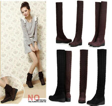 Hot Women Girls New Winter Knitted Over Knee Booties Ankle Warm Shoes Snow Boots
