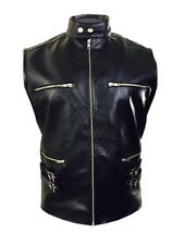 MENS REAL LEATHER BLACK MOTORCYCLE BIKER STYLE VEST WAISTCOAT - (B21)
