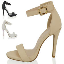 NEW WOMENS PLATFORM HIGH HEEL ANKLE STRAP LADIES PEEP TOE STRAPPY BUCKLE SANDALS
