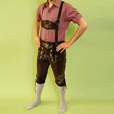 Bavarian Lederhosen authentic real Goat Suede Leather Oktoberfest Dark Brown