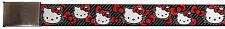 Hello Kitty Animated Character Red Bows & Stripes Web Belt Chrome
