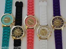 NEW GENEVA PLATINUM GOLD GLITTER MULTI COLOR ROMAN NUMBERS SILICONE WATCH--2086