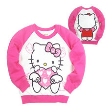 100%Cotton Pink Hello Kitty Girls Kids Long Sleeve T-Shirt/Shirt New Size 100