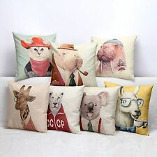 3D Animal Cushion Covers Linen Cushions Cat Seat Cushion Cover for Sofa Office