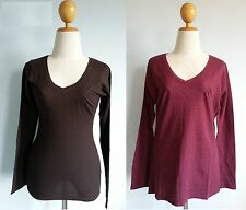 *Patagonia Women Organic Cotton L/S WAFFLE VEE Stretchy Pleated Tee Top XS XL