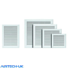 """Air Vent Grille White Plastic Wall Ducting Ventilation Cover 4"""" 6"""" 8"""" 10"""" 12"""" 14"""