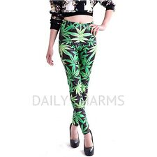 Women's Sexy Marijuana Graphic Print Stretch Pants Weed Pattern Tight Leggings