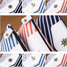 Student Navy Style Canvas Pen Pencil Case Coin Purse Pouch Cosmetic Makeup Bag