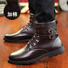 Hot Retro Combat boots Winter England-style fashionable Men short Black shoesQ91