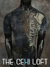 Mens Affliction T-Shirt LIVE FAST GENTS in Black Lava Wash & Studs Style #A11565