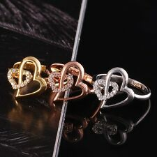 Delicate Gold Plated Heart Shaped Cubic Zirconia Fashionable Party Ring Size 7/8