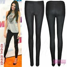 NEW LADIES WET LOOK SHINY BLACK DISCO PANTS WOMENS PU STRETCH LEGGINGS TROUSERS