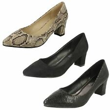 Ladies Spot On Pointed Toe Low Block Heeled Court Shoe