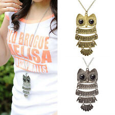Women Lady Fashion Vintage Style Bronze Owl Long Chain Necklace Pendant Jewelry