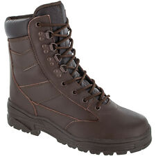 Highlander Delta Mens Boots Tactical Hiking Outdoor Full Leather Footwear Brown