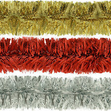 Deluxe Thick Chunky Wide Shiny Christmas Tree Tinsel Decoration - 2m (6.5ft)