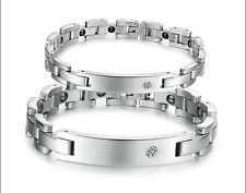 Couple Health Stainless Steel Bracelet Magnetic Therapy Rhinestone CZ Bracelet