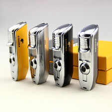 COHIBA METAL 3 TORCH JET FLAME WIND-PROOF CIGAR CIGARETTE LIGHTER With PUNCH