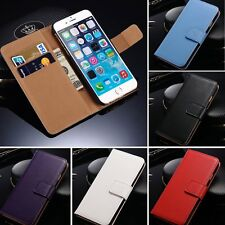 For iPhone 6 Plus/5 5s/4 4s Leather Flip Stand Card Pouch Wallet Case Cover Skin