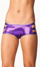 Sequin Boy Booty Shorts Metallic Band Sides Cut Outs Hot Pants Underwear 332701