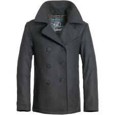 Brandit Classic Navy Pea Coat Warm Mens Wool Reefer Travel Jacket Anthracite