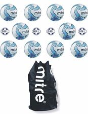 10 x MITRE IMPEL TRAINING FOOTBALLS + BALL SACK - WHITE/BLUE - SIZES 3,4 & 5