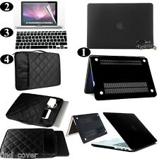 Black Rubberized Hard Case Carrying Sleeve Bag Keyboard Cover For Apple Macbook