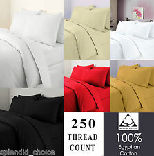 250 Thread Count Duvet Quilt Cover 100% Egyptian Cotton Bedding Set All Sizes