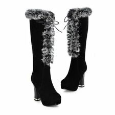 Winter Womens High Heels Zipper Furry Trim Warm Knee High Lace Up Snow Boots