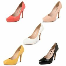 Womens Ladies Concealed Platform Party Stiletto High Heel Court Patent Shoes