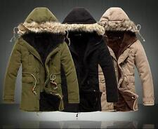 Mens Fur Hood Zip fur lined cotton  Down Parka Jacket Coat Size overcoat New