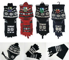 Winter Knit Hat, Long Scarf & Gloves 3 Pc Set Beanie Ski Cap Snowflakes 5 Colors