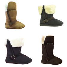 Women's Winter Boots Faux Suede Folded Buckle Strap Zipper Warm Fur Shoes, Sizes