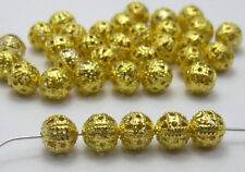 Wholesale 4mm/6mm/8mm Golden Plated Round Filigree Spacer Beads 200PC