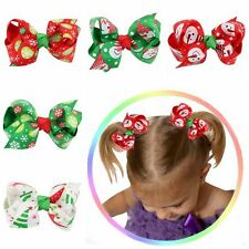 1Pc Baby Girl Kid Boutique Grosgrain Ribbon Colorful Bow Hair Clip Xmas Gift Hot