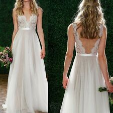 Chic Lady Lace Long Chiffon Bridesmaid Wedding Formal Party Gown Prom Maxi Dress