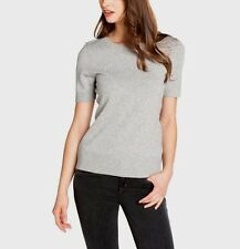 *NWT* NEW Magaschoni 100% Cashmere Crewneck Short Sleeve Sweater - Gray Tan Sz S