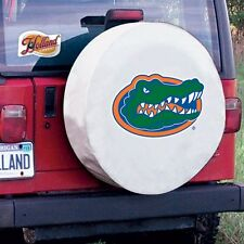Florida Tire Cover with Gators Logo on White Vinyl