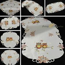 Autumn Fall Owl Doily Table runner Tablecloth White Gold Brown-Orange Embroidery